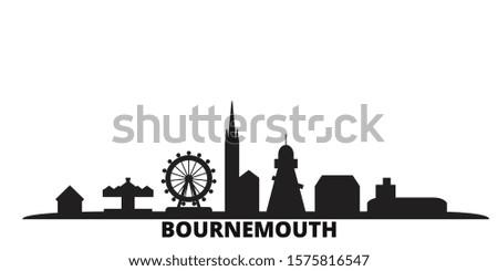 United Kingdom, Bournemouth city skyline isolated vector illustration. United Kingdom, Bournemouth travel black cityscape