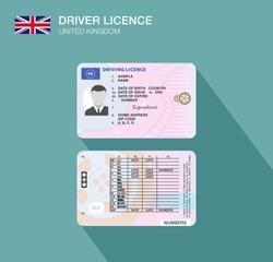 United Kingdom car driver license identification. Flat vector illustration. Great Britain.