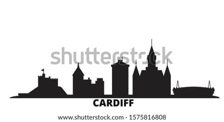 United Kingdom, Cardiff city skyline isolated vector illustration. United Kingdom, Cardiff travel black cityscape
