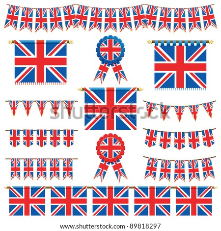 united kingdom decorative banners and bunting isolated on white