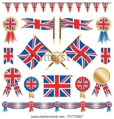 united kingdom decorative ribbons, flags and rosettes isolated on white