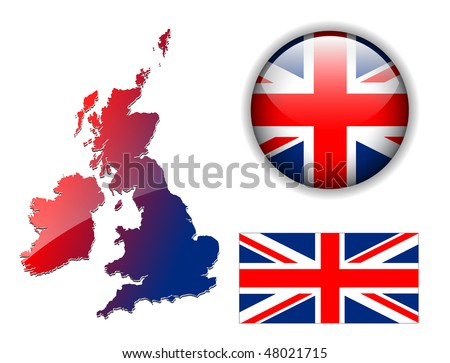 United Kingdom, England flag, map and glossy button, vector illustration set.