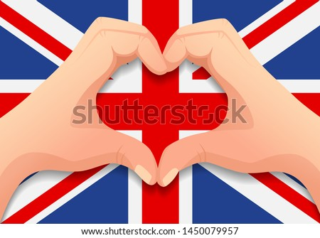 united kingdom flag and hand