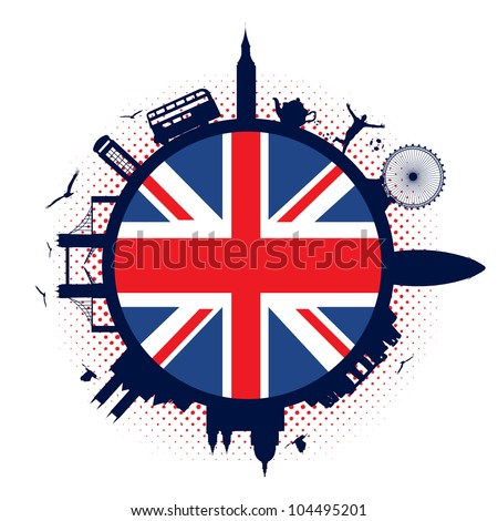 United Kingdom flag and silhouettes