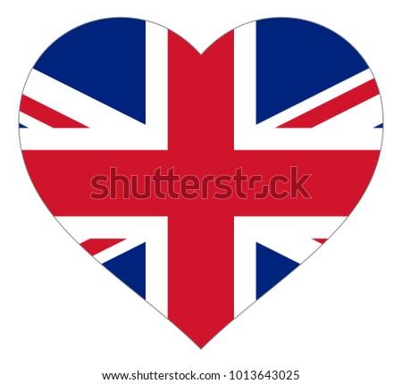 united kingdom flag in heart