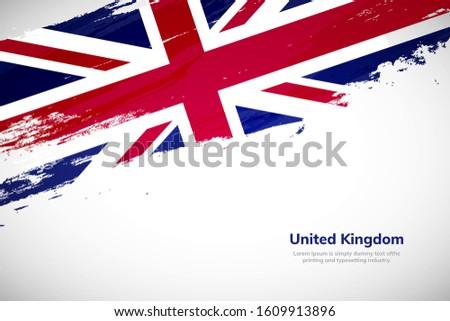 United Kingdom flag made in brush stroke background. National day of United Kingdom. Creative United Kingdom national country flag icon. Abstract painted grunge style brush flag background.