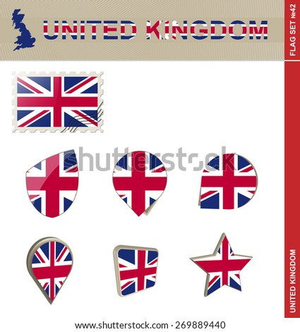 United Kingdom Flag Set, Flag Set #42. Vector.