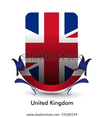 united kingdom flag stand banner design, vector illustration.