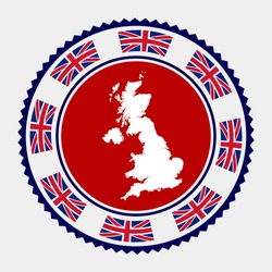 United Kingdom flat stamp. Round logo with map and flag of United Kingdom. Vector illustration.