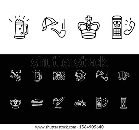 United kingdom icon set and detective hat pipe with inkwell with quill pen, telephone box and bike. Accessory related united kingdom icon vector for web UI logo design.