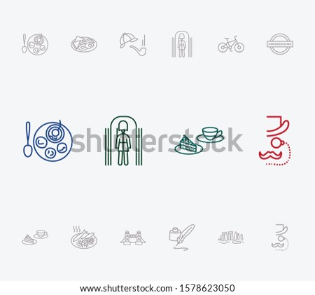 United kingdom icon set and fish with chips with cake with tea cup, bike and bacon with egg. Historical related united kingdom icon vector for web UI logo design.