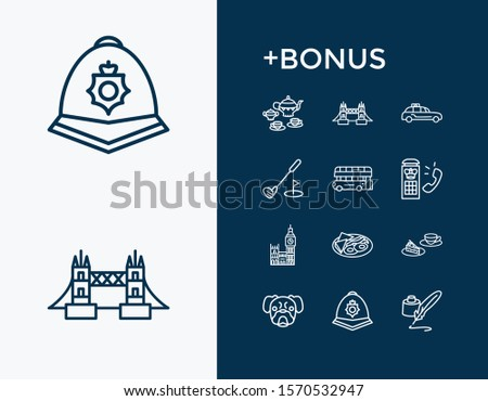United kingdom icon set and taxi cab with mops dog, big ben and tea set. Phone cabin related united kingdom icon vector for web UI logo design.