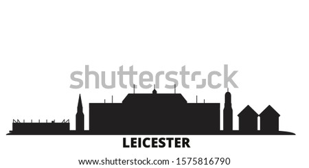 United Kingdom, Leicester city skyline isolated vector illustration. United Kingdom, Leicester travel black cityscape