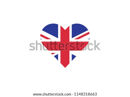 united kingdom love heart shape