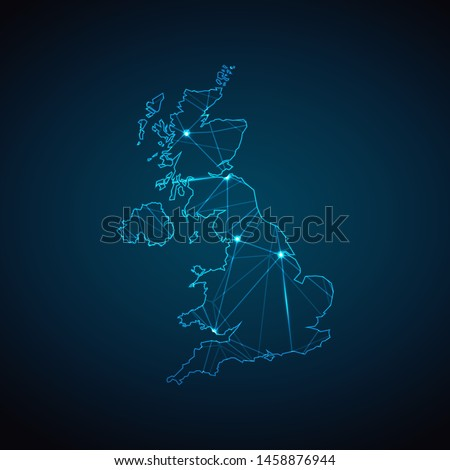 United Kingdom Map - Abstract geometric mesh polygonal network line, structure and point scales on dark background with lights in the form of cities. Vector illustration eps 10.