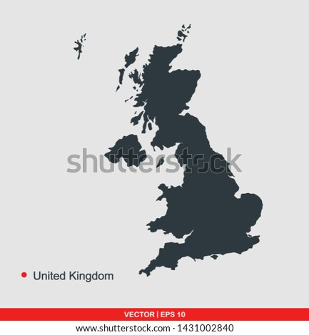 United kingdom map flat icon, vector illustration on gray background