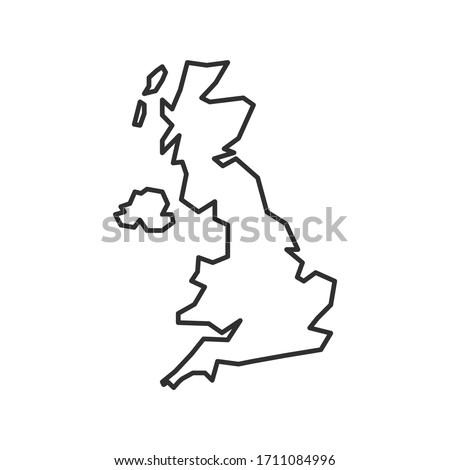 United Kingdom map icon isolated on white background. UK outline map. Simple line icon. Vector illustration Stock photo ©