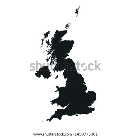 United Kingdom map icon. vector isolated high detailed silhouette image of Great Britain
