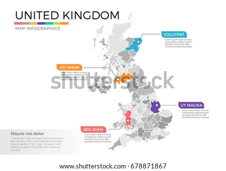 United Kingdom map infographics vector template with regions and pointer marks
