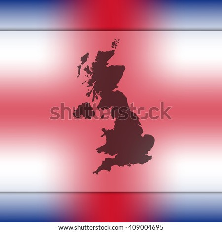 united kingdom map on blurred