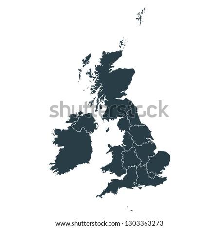 United Kingdom map on White background vector, United Kingdom Map Outline Shape Gray on White Vector Illustration, High detailed Gray illustration map United Kingdom.