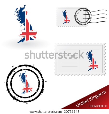 United Kingdom map, stamps and postcard set from series