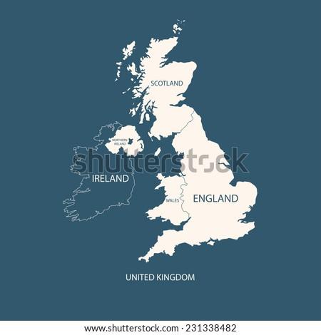UNITED KINGDOM MAP, UK MAP  Foto d'archivio ©