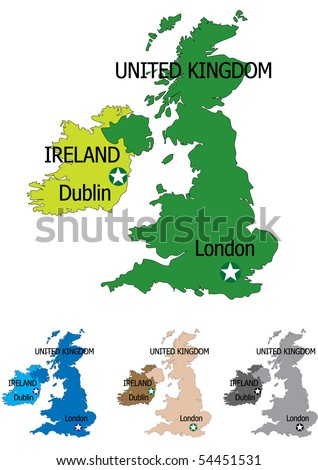 United kingdom map with all maps in separate layers for easy editing