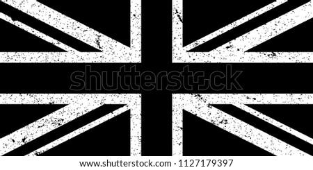 United Kingdom National Flag Grunge Black and White. Vector.