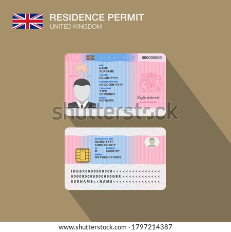 United Kingdom national permit residence card. Flat vector illustration template. Great Britain.