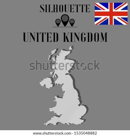 United Kingdom of Great Britain and Northern Ireland, UK, England outline world map silhouette vector illustration, design background, national country flag, objects, element, symbols countries set.