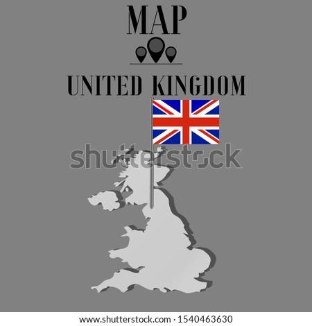 United Kingdom of Great Britain and Northern Ireland, UK outline world map silhouette vector illustration, design background, national country flag, objects, element, symbols from countries set.
