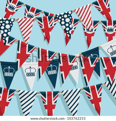 united kingdom party bunting background, with clipping path