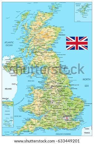 United Kingdom physical map. Vector illustration.