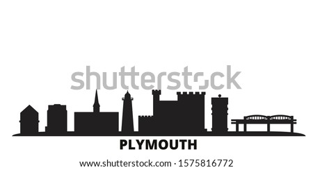 United Kingdom, Plymouth city skyline isolated vector illustration. United Kingdom, Plymouth travel black cityscape