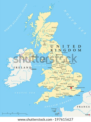 United Kingdom Political Map with capital London, national borders, most important cities, rivers and lakes. Vector illustration with English labeling and scaling. ストックフォト ©
