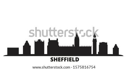 United Kingdom, Sheffield city skyline isolated vector illustration. United Kingdom, Sheffield travel black cityscape