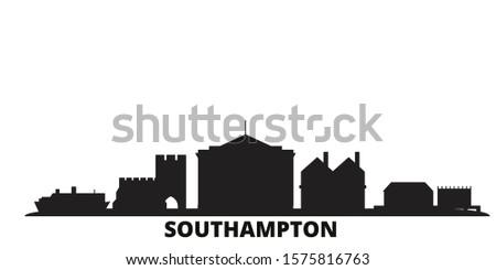 United Kingdom, Southampton city skyline isolated vector illustration. United Kingdom, Southampton travel black cityscape