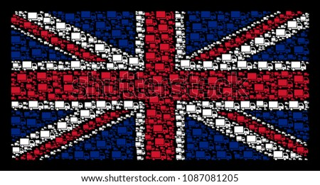 United Kingdom State Flag concept designed of delivery lorry design elements on a dark background. Vector delivery lorry icons are combined into mosaic UK flag illustration.