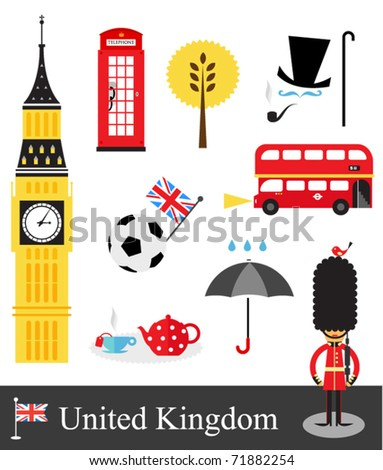 United Kingdom stereotypes - stock vector