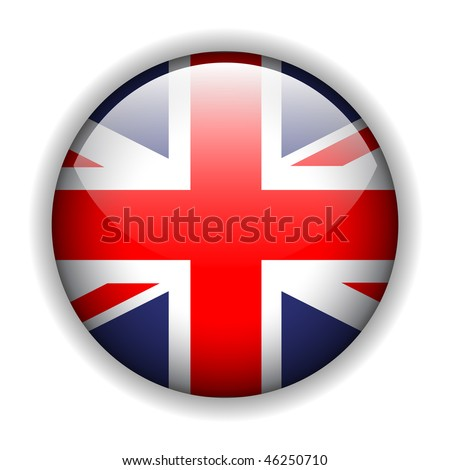 United Kingdom UK flag button, vector