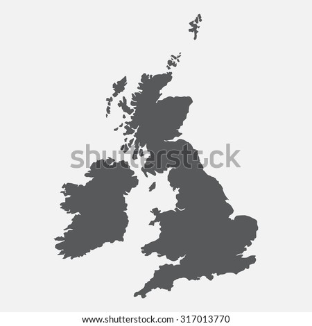 United Kingdom,UK,Great Britain grey map,border Foto d'archivio ©