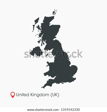 United Kingdom / UK Map Vector Template Isolated