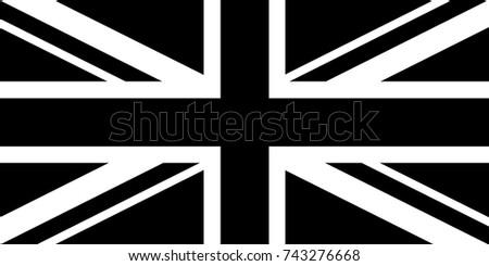 United Kingdom (UK) National Flag Black and White. Vector.
