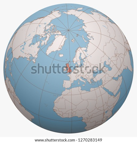 United Kingdom (UK) on the globe. Earth hemisphere centered at the location of the United Kingdom of Great Britain and Northern Ireland. Britain map.