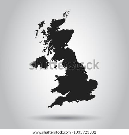 United Kingdom vector map. Black icon on white background.