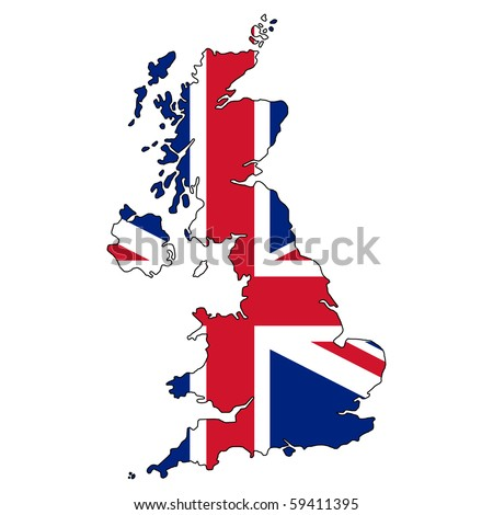 United Kingdom vector map with the flag inside.