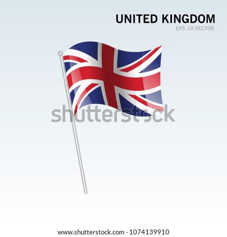 United Kingdom waving flag isolated on gray background