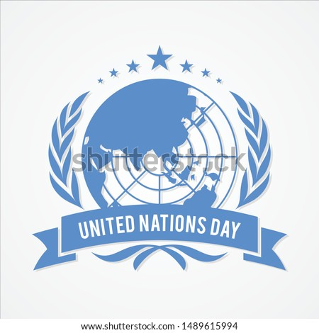 United Nation Day banner vector in flat style. United nation day text banner. Vector illustration EPS.8 EPS.10