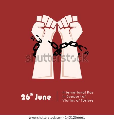 United Nations International Day in Support of Victims of Torture Vector Design with hand and chain